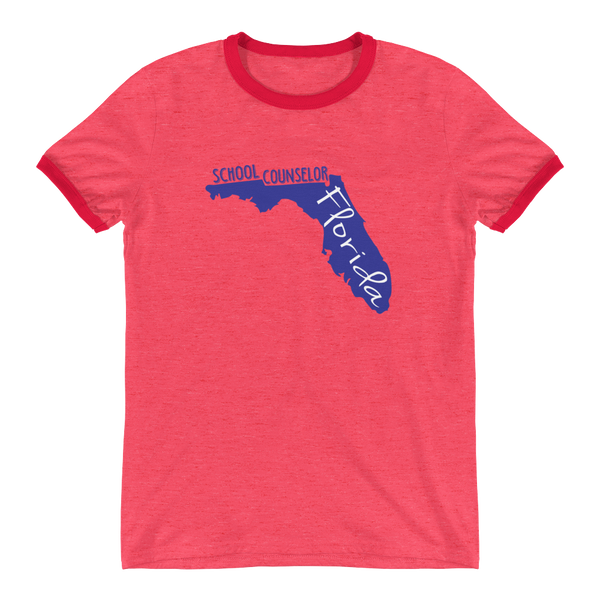 FL School Counselor Ringer T-Shirt - The School Counselor Shop  Great gifts and items for school and guidance counselors. School Counseling, Counseling, School Shirts, Counseling Apparel