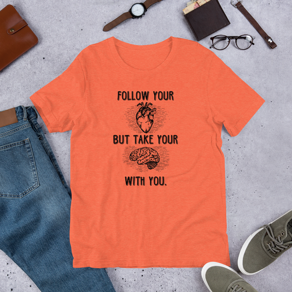 Follow Your Heart B+C (Dark) Unisex short sleeve t-shirt - The School Counselor Shop  Great gifts and items for school and guidance counselors. School Counseling, Counseling, School Shirts, Counseling Apparel