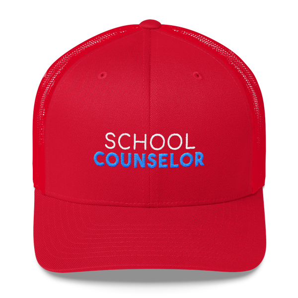 School Counselor Retro Trucker Hat - The School Counselor Shop  Great gifts and items for school and guidance counselors. School Counseling, Counseling, School Shirts, Counseling Apparel