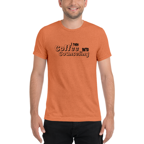 Coffee into Counseling - Unisex Short sleeve t-shirt - The School Counselor Shop  Great gifts and items for school and guidance counselors. School Counseling, Counseling, School Shirts, Counseling Apparel