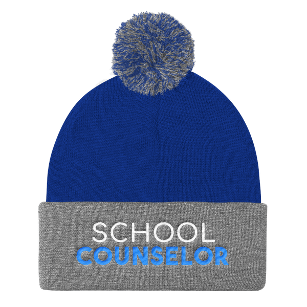 School Counselor Sportsman SP15 Pom Pom Knit Cap - The School Counselor Shop  Great gifts and items for school and guidance counselors. School Counseling, Counseling, School Shirts, Counseling Apparel