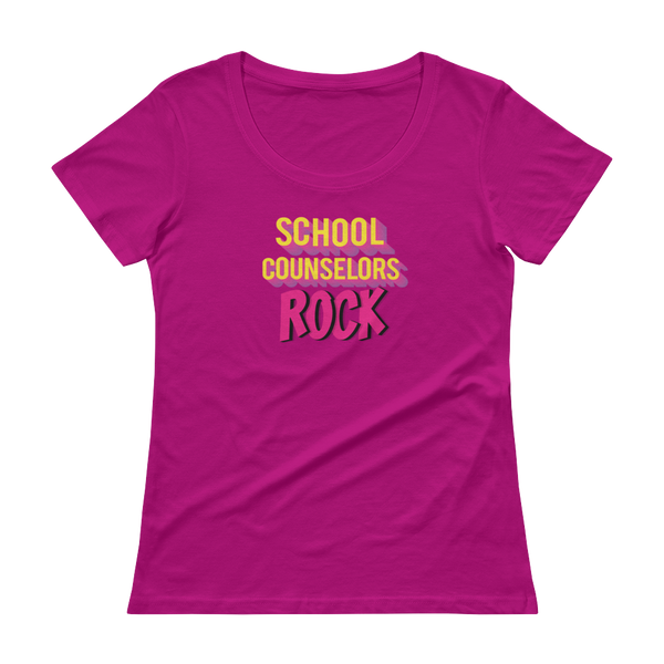 School Counselors Rock Ladies' Scoopneck T-Shirt - The School Counselor Shop  Great gifts and items for school and guidance counselors. School Counseling, Counseling, School Shirts, Counseling Apparel
