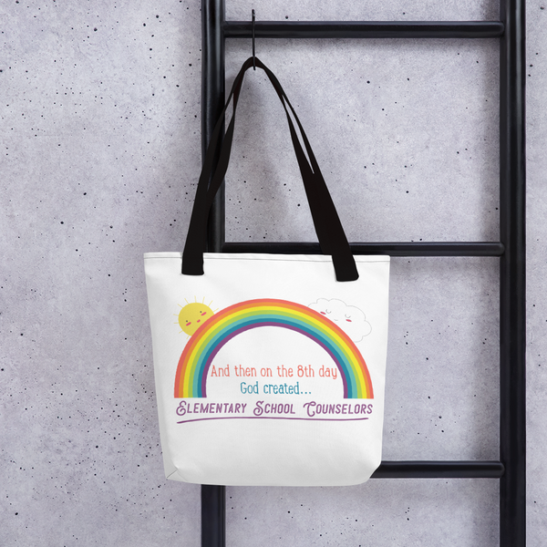 On the 8th Day - Elementary School Counselors Tote bag - The School Counselor Shop  Great gifts and items for school and guidance counselors. School Counseling, Counseling, School Shirts, Counseling Apparel