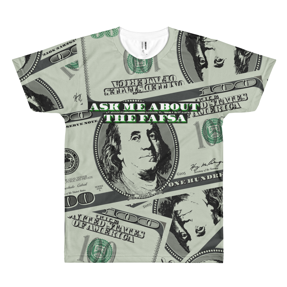 The Money Shirt (White Text) - All Over Print - The School Counselor Shop  Great gifts and items for school and guidance counselors. School Counseling, Counseling, School Shirts, Counseling Apparel