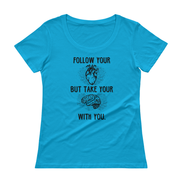 Follow Your Heart Anvil 391 (Dark) Ladies' Scoopneck T-Shirt - The School Counselor Shop  Great gifts and items for school and guidance counselors. School Counseling, Counseling, School Shirts, Counseling Apparel