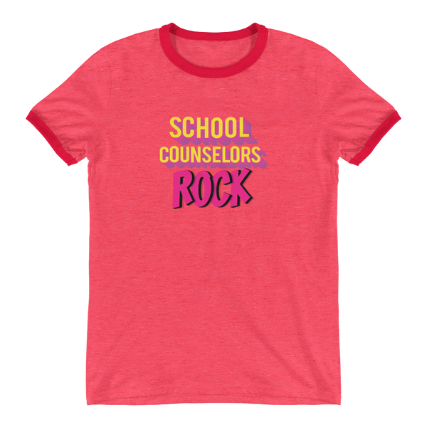 School Counselors Rock Ringer T-Shirt - The School Counselor Shop  Great gifts and items for school and guidance counselors. School Counseling, Counseling, School Shirts, Counseling Apparel