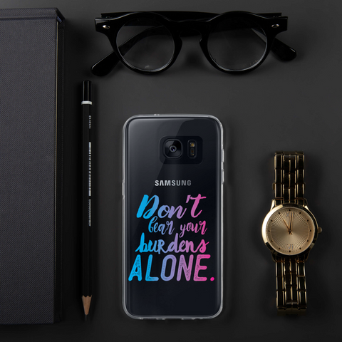 Don't Bear Your Burdens Alone - Samsung Case TPU and PC Blue to Purple Custom Design - The School Counselor Shop  Great gifts and items for school and guidance counselors. School Counseling, Counseling, School Shirts, Counseling Apparel