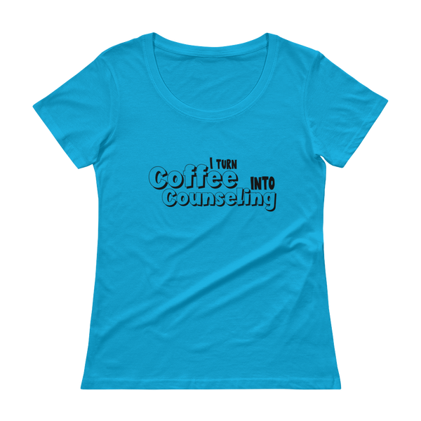 Coffee into Counseling - Ladies' Scoopneck T-Shirt - The School Counselor Shop  Great gifts and items for school and guidance counselors. School Counseling, Counseling, School Shirts, Counseling Apparel