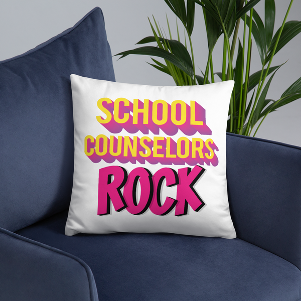 School Counselors Rock Square Pillow - The School Counselor Shop  Great gifts and items for school and guidance counselors. School Counseling, Counseling, School Shirts, Counseling Apparel