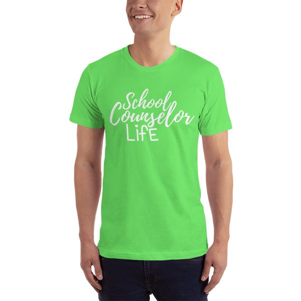 School Counselor Life American Apparel  (Light Text) Short sleeve men's t-shirt - The School Counselor Shop  Great gifts and items for school and guidance counselors. School Counseling, Counseling, School Shirts, Counseling Apparel