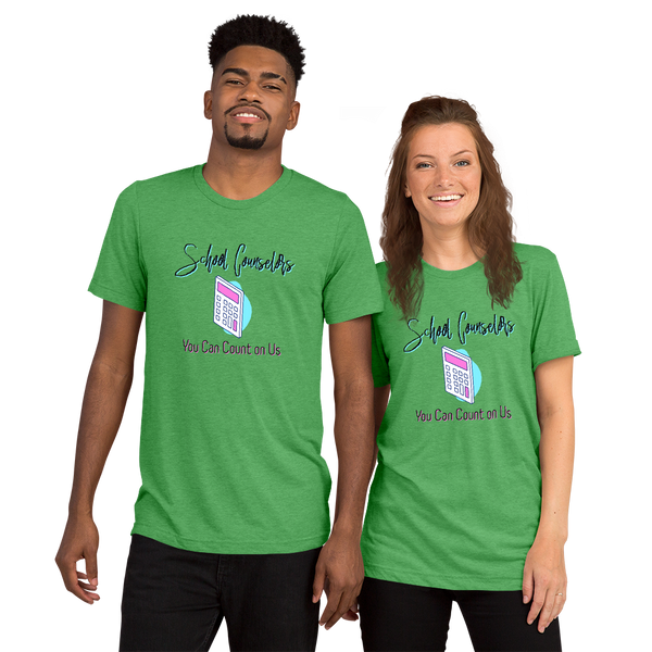 You Can Count on Us - Unisex Bella + Canvas 3413 Short sleeve t-shirt - The School Counselor Shop  Great gifts and items for school and guidance counselors. School Counseling, Counseling, School Shirts, Counseling Apparel