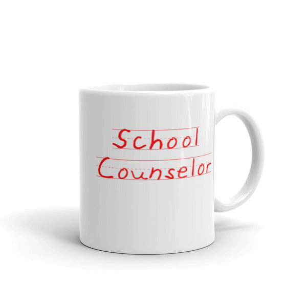 School Counselor - Student Writing in Red Mug - The School Counselor Shop  Great gifts and items for school and guidance counselors. School Counseling, Counseling, School Shirts, Counseling Apparel