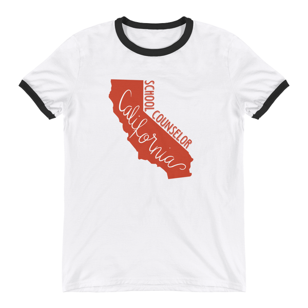 California School Counselor Anvil 988 Ringer T-Shirt - The School Counselor Shop  Great gifts and items for school and guidance counselors. School Counseling, Counseling, School Shirts, Counseling Apparel