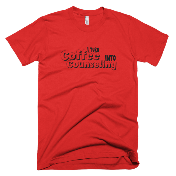 Coffee into Counseling - Unisex American Apparel T-Shirt - The School Counselor Shop  Great gifts and items for school and guidance counselors. School Counseling, Counseling, School Shirts, Counseling Apparel