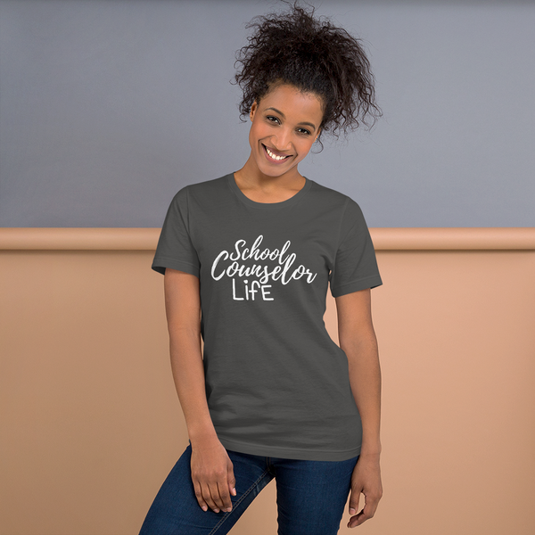 School Counselor Life (Light Text) B+C Unisex short sleeve t-shirt - The School Counselor Shop  Great gifts and items for school and guidance counselors. School Counseling, Counseling, School Shirts, Counseling Apparel