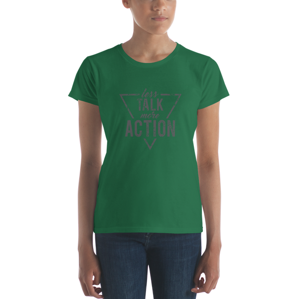 Less Talk - More Action (Mono) Anvil 880 Women's short sleeve t-shirt - The School Counselor Shop  Great gifts and items for school and guidance counselors. School Counseling, Counseling, School Shirts, Counseling Apparel