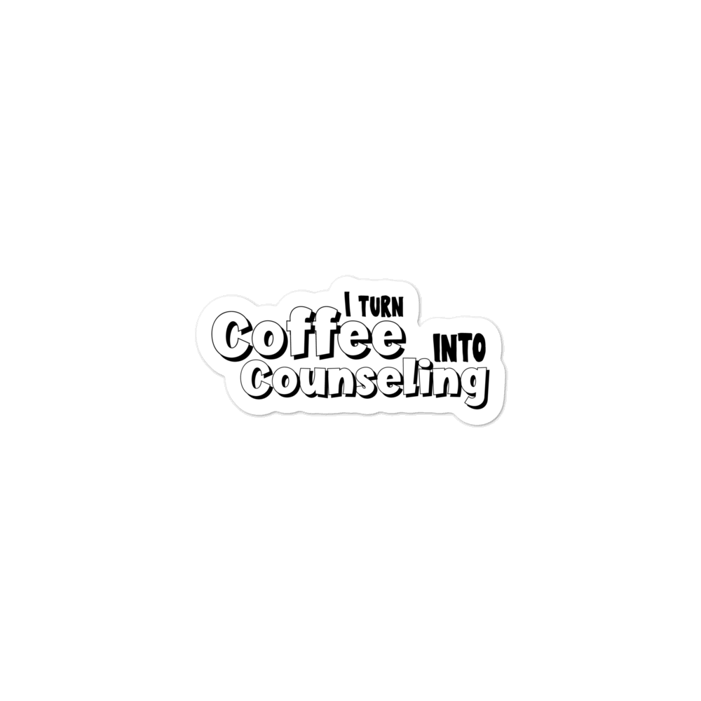 Coffee into Counseling - Die Cut Bubble-free school counseling stickers - The School Counselor Shop  Great gifts and items for school and guidance counselors. School Counseling, Counseling, School Shirts, Counseling Apparel