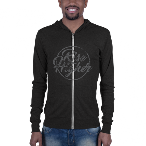 Riser Higher - Bella + Canvas 3939 Unisex Triblend Lightweight Zip Hoodie with Tear Away Label