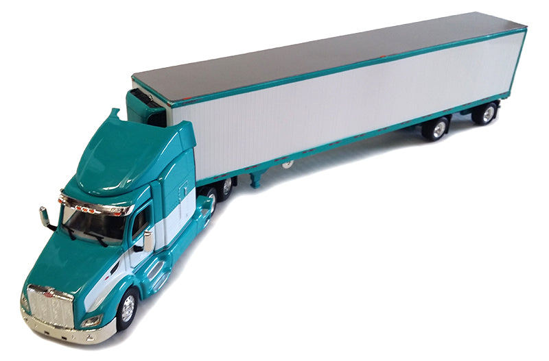 Peterbilt 579 in Turquoise and White with Refrigerated Van Trailer