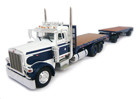 Peterbilt 389 Day Cab Flatbed Truck with Flatbed Trailer