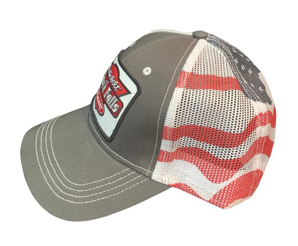 Gray and American Flag Netted Hat