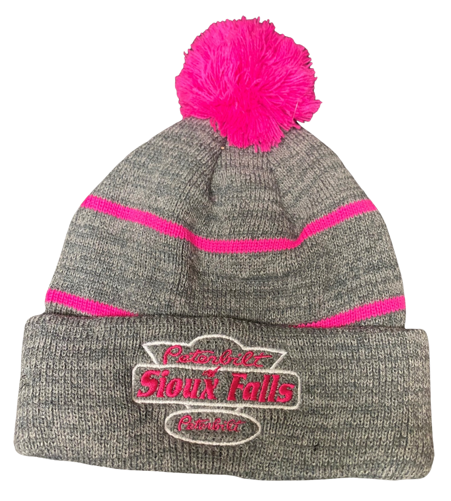 Gray and Pink Stocking Hat