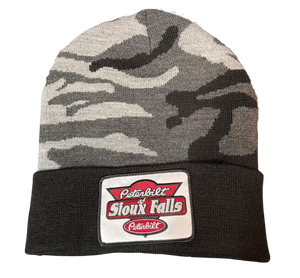Black Camo Patch Stocking Hat