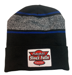 Black, Blue, and Gray Patch Stocking Hat