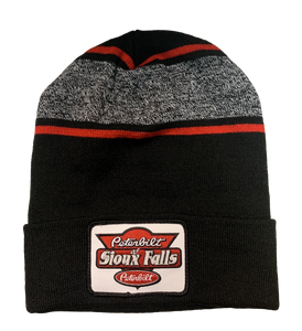 Black, Red, and Gray Patch Stocking Hat