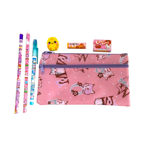 Ltd. Pop Cutie Japanese Pen Case Cat Gift Set  X 12 pcs