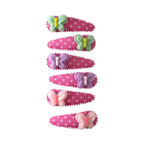 Pop Cutie Butterfly Hair Clips Wholesale (12 pairs)
