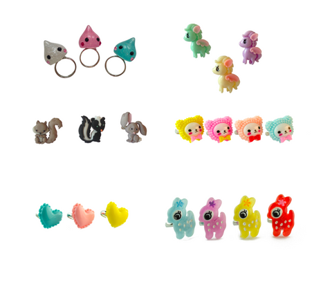 Pop Cutie Mixed Design Rings (12 pcs) Wholesale