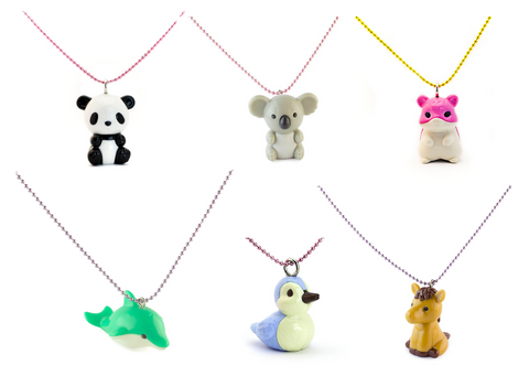 Pop Cutie X Iwako Animals Necklaces 6 pcs Wholesale