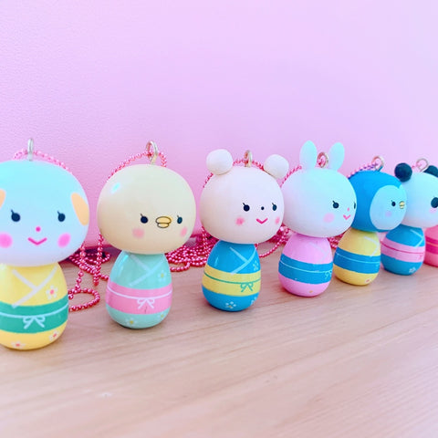 Ltd. Pop Cutie Kokeshi Necklaces - 6 pcs. Wholesale