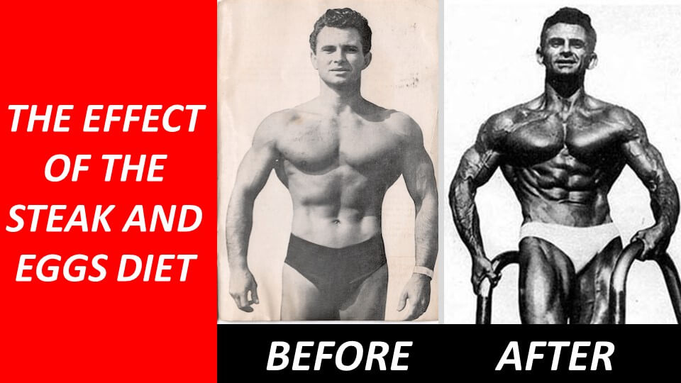 Vince Gironda before and after on the steak and eggs diet