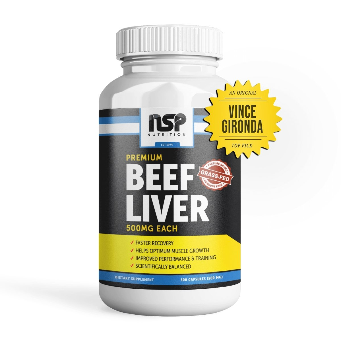 Vince's Gym Power Grass-Fed Beef Liver Extract (500 Capsules) - NSP Nutrition