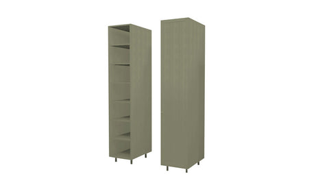 45 Cm. Grey Brown Avola Wardrobe (White Interior ) with Shelves Left