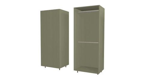 90 Cm. Grey Brown Avola Wardrobe (White Interior ) with 2 Hangers