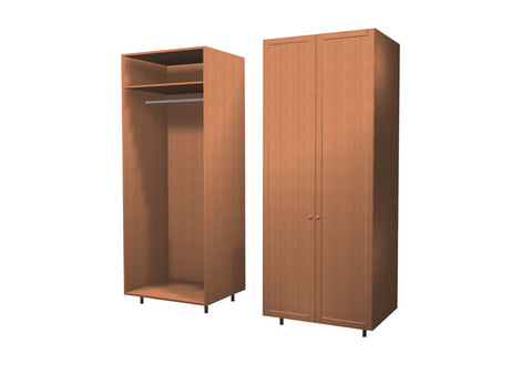 90 Cm. Sand Larch Wardrobe (White Interior ) with Shelf and Hanger