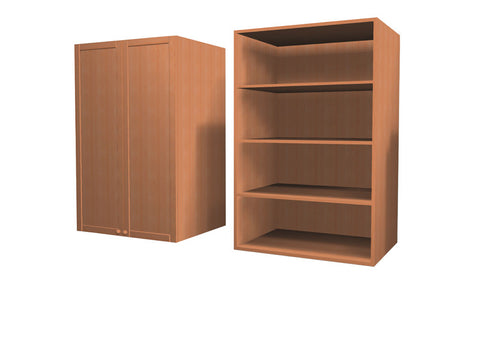 90 Cm. Sand Larch Wardrobe (White Interior ) Medium with Shelves