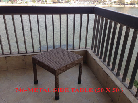 Out Door Lazy Lounger Side Table 50*50*45 Dark Brown