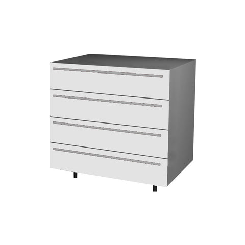 90 Cm. White High Gloss Drawers Unit with 4 Drawers