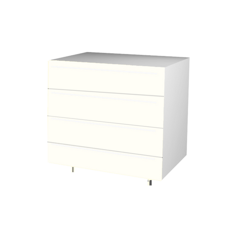 90 Cm. Cream High Gloss Drawers Unit with 4 Drawers