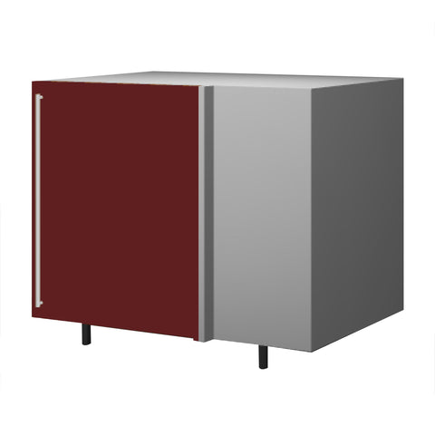 120 Cm. Burgundi High Gloss Base Corner Unit With  Shelf  Right