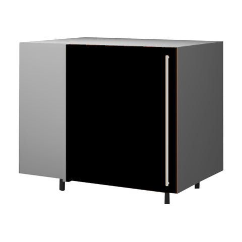 120 Cm. Black High Gloss Base Corner Unit With  Shelf Left