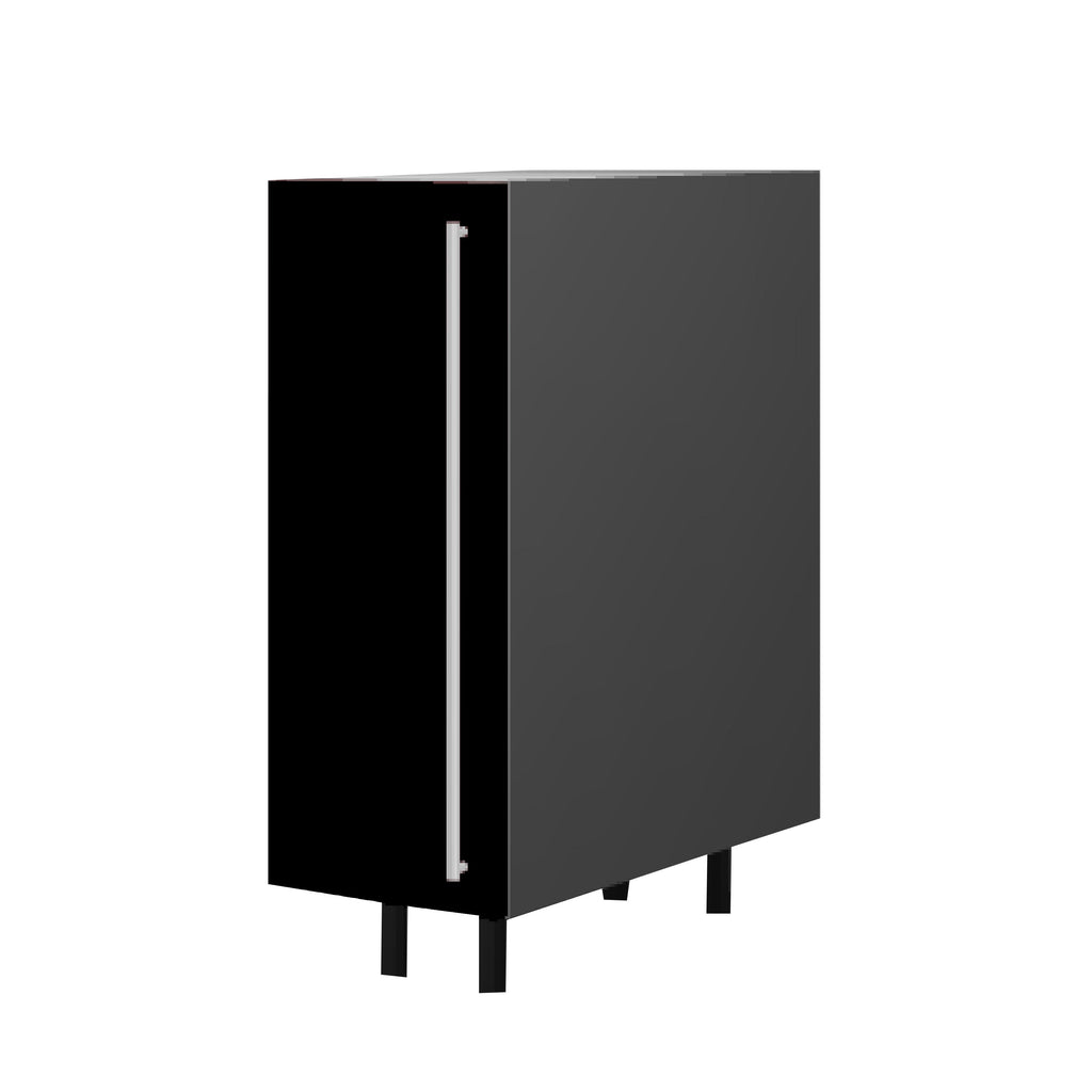 30 Cm. Black High Gloss Unit With Shelf  Left