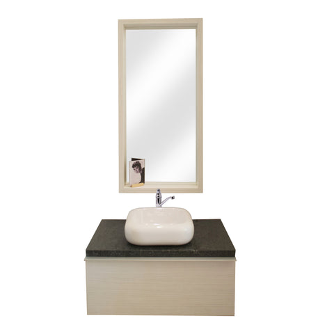 90 Cm. Hacienda White Combo Bath Sink Tipper Unit + Glass Mirror