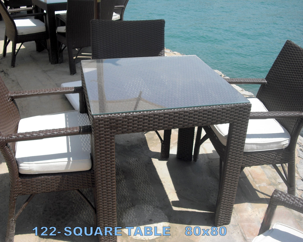 Out door oasis dining table 80 80 76 dark brown designy for Outdoor furniture egypt