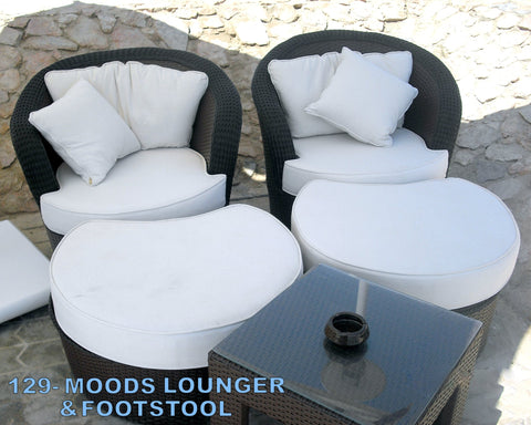 Out Door Moods Lounger w / Stool Dark Brown