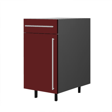 45 Cm. Burgundi High Gloss Base Base Unit With Drawer & Shelf Left